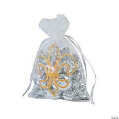 Large Fleur De Lis Organza Drawstring Bags