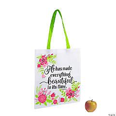 Large Floral Scripture Tote Bags