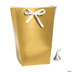 Large Gold Favor Boxes with Ribbon