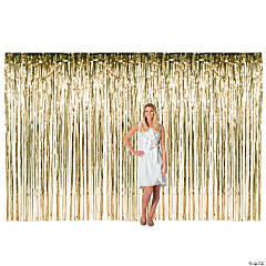 Large Gold Metallic Fringe Backdrop Curtain