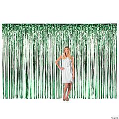 Large Green Foil Fringe Curtain Background