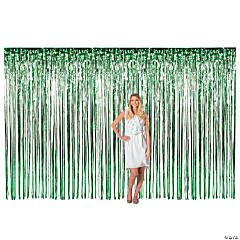 Large Green Foil Fringe Curtain
