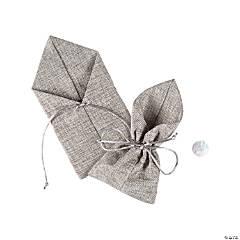 Large Grey Burlap Drawstring Favor Bags
