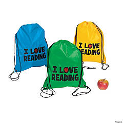 Large I Love Reading Drawstring Bags