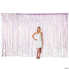 Large Iridescent Plastic Fringe Curtain Background