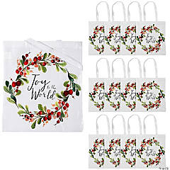 Large Joy to the World Laminated Tote Bags