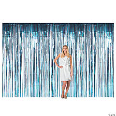 Large Light Blue Foil Fringe Curtain Background
