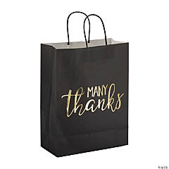 Large Many Thanks Black & Gold Kraft Paper Gift Bags