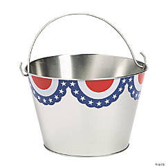 Large Metal Patriotic Pails