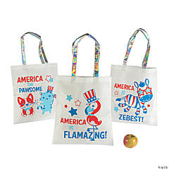 Large Patriotic Animal Tote Bags