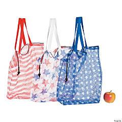Large Patriotic Mesh Drawstring Bags