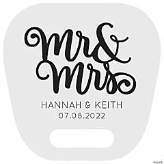 Large Personalized Mr. & Mrs. Wedding Hand Fans with Cutout Handle