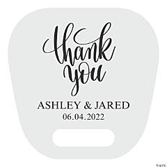 Large Personalized Thank You Wedding Hand Fans with Cutout Handle