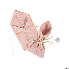 Large Pink Burlap Drawstring Favor Bags