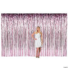 Large Pink Foil Fringe Door Curtain
