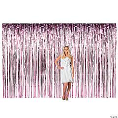 Large Pink Metallic Fringe Backdrop Curtain