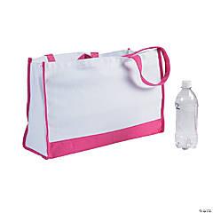 Large Pink Trim Rectangular Tote Bag