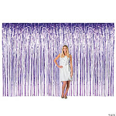 Large Purple Metallic Fringe Backdrop Curtain