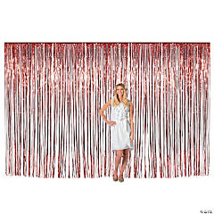 Large Red Metallic Fringe Backdrop Curtain