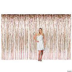 Large Rose Gold Metallic Fringe Backdrop Curtain