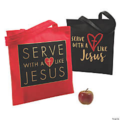 Large Serve with a Heart Like Jesus Tote Bags