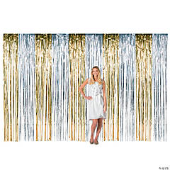 Large Silver & Gold Metallic Fringe Backdrop Curtain