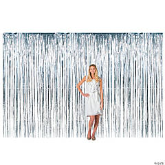 Large Silver Metallic Fringe Backdrop Curtain