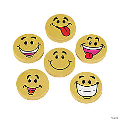 Large Smile Face Erasers - 48 Pc.