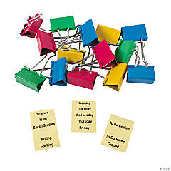 Large Teacher Binder Clips with Stickers