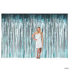Large Teal Foil Fringe Curtain Background
