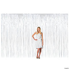 Large White Metallic Fringe Backdrop Curtain