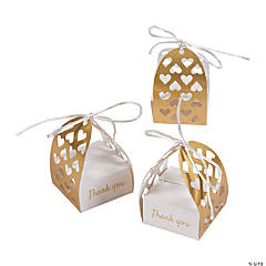 Laser-Cut White & Gold Thank You Favor Boxes