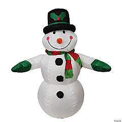 LB International - 4' Black and White Inflatable Snowman Christmas Outdoor Decor
