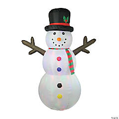 LB International - 8' White Inflatable Lighted Snowman Christmas Outdoor Decor