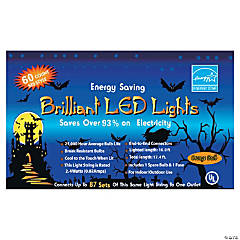 LED 60 Count Orange Party Lights Halloween Décor