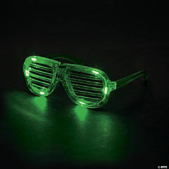 LED Green Light-Up Shutter Glasses PDQ