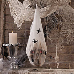 LED Skull in Spider Cocoon Halloween Decoration