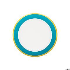 Light Blue & White Premium Plastic Dessert Plates with Gold Border