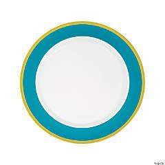 Light Blue & White Premium Plastic Dinner Plates with Gold Border
