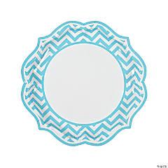 Light Blue Chevron Scalloped Paper Dinner Plates