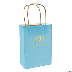 Light Blue Medium I Do Crew Personalized Kraft Paper Gift Bags with Gold Foil