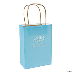 Light Blue Medium I Do Crew Personalized Kraft Paper Gift Bags with Silver Foil
