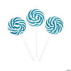 Light Blue Swirl Lollipops