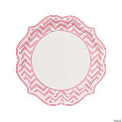 Light Pink Chevron Scalloped Paper Dinner Plates