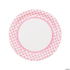 Light Pink Gingham Paper Dinner Plates - 24 Ct.