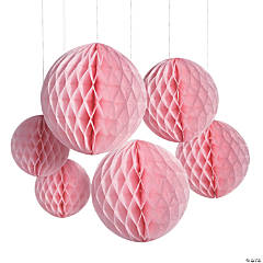 Light Pink Hanging Honeycomb Decorations