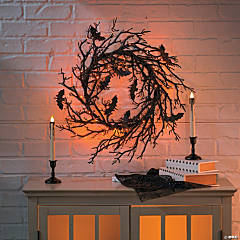 Light-Up Black Bat Wreath Halloween Decoration