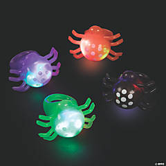 Light-Up Flashing Spider Rings - 12 Pc.