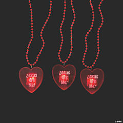 Light-Up Jesus Loves Me Heart Beaded Necklaces