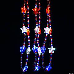 Light-Up Patriotic Mardi Gras Beaded Necklaces